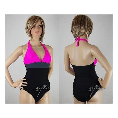 Kostium kąpielowy Monokini czarno-szaro-różowy