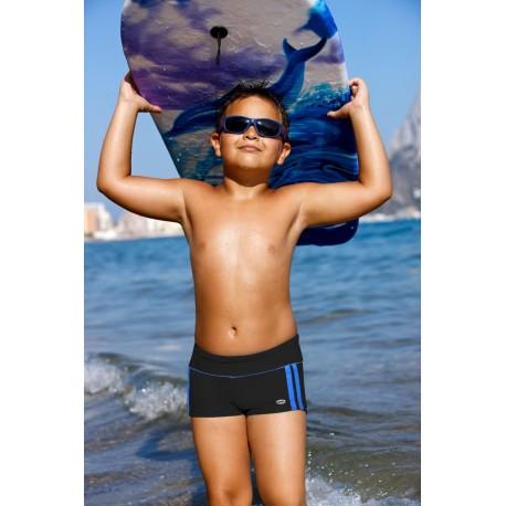 Kąpielówki spodenki bokserki dla chłopca chłopięce CB-4, czarne z niebieskim