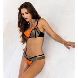 Strój kąpielowy dwuczęściowy bikini push-up L-3183 v.2 NATALIA, złoty beż z pomarańczem