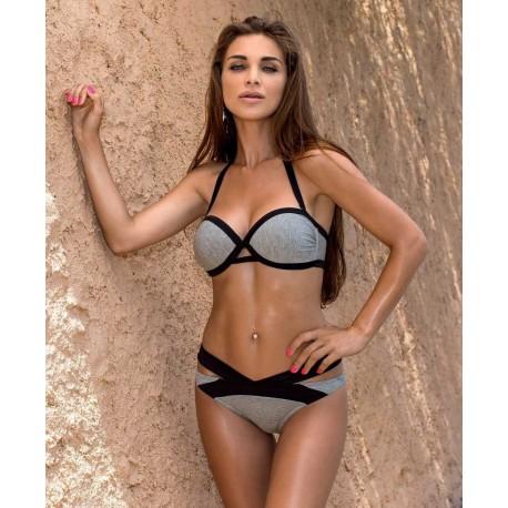 Strój kąpielowy dwuczęściowy bikini push-up L-5413 v.1 LAMA, szary melanż (dresowy)