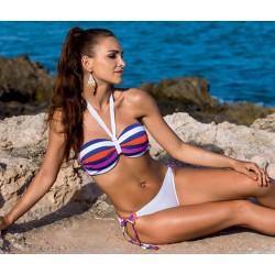 Strój kąpielowy dwuczęściowy bikini L-3199 v.1 ALVA, biały w kolorowe paski