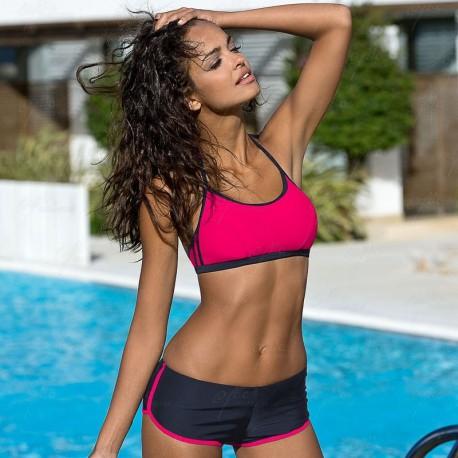 Strój kąpielowy dwuczęściowy sportowy bikini fitness L-4100 v.1 LO-09, grafit z różem