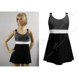 Strój kąpielowy jednoczęściowy sukienka wyszczuplający BETTY-2, czarny z szarym