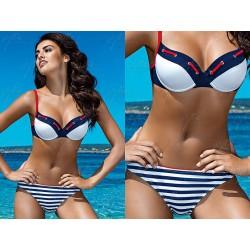 Strój kostium kąpielowy bikini push-up L-2015/6 v.1, granatowy z białym