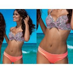 Strój kostium kąpielowy bikini z usztywnianą miską L-2023/6 v.1, łososiowy z wzorem