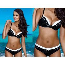 Strój kąpielowy dwuczęściowy bikini push-up L-2067/6 V.1, czarny z białym