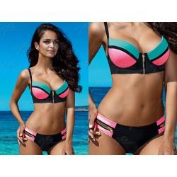Strój kąpielowy dwuczęściowy bikini push-up L-2076/6 v.1, czarny z różowym i morskim