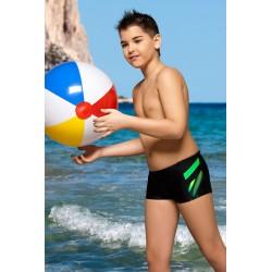 Kąpielówki spodenki bokserki dla chłopca chłopięce CB-3 czarne z zielonym wzorem