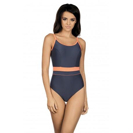 Kostium kąpielowy jednoczęściowy basenowy sportowy L-7341 Delfina, grafit z pomarańczem