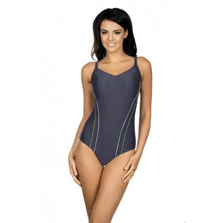 Strój kostium kąpielowy L-4110 v.3 LO-29 sportowy grafit+lamówki