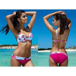 Strój kostium kąpielowy bikini push-up L-2066/6 v.1, fuksja z wzorem