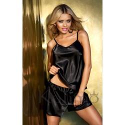 Komplet VENICE - Piżama satynowa, koszulka + spodenki, czarna