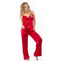Komplet HAITI - Piżama satynowa, koszulka + długie spodnie, czerwona
