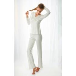 Komplet FLORENCE - Piżama z wiskozy, koszulka + długie spodnie, kremowy (ecru)