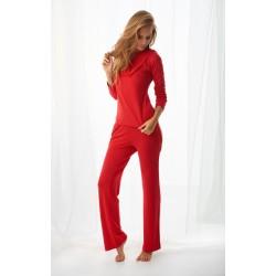 Komplet FLORENCE - Piżama z wiskozy, koszulka + długie spodnie, czerwony
