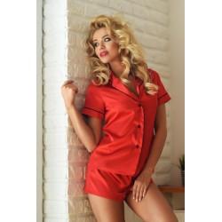 Komplet IMPERIA - Piżama satynowa, koszula + szorty, czerwona