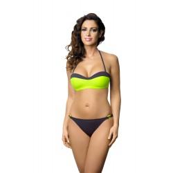 Strój kostium kąpielowy bikini push-up L-2220 v.2 SOFIE, limonka z szarym