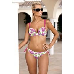 Strój kostium kąpielowy bikini ze sztywą miską L-5204 v.2 SABRINA, różowy z kwiatowym wzorem