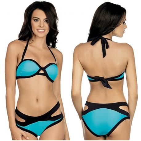 Strój kąpielowy dwuczęściowy bikini push-up L-5423 v.2 LAMA, niebieski