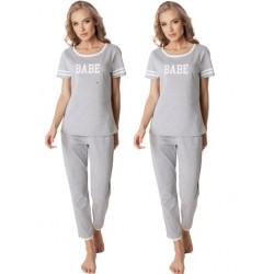 Piżama damska Babe Long Grey Aruelle Homewear