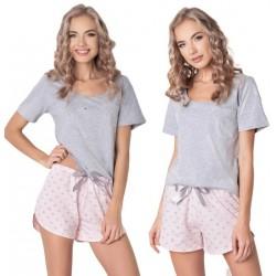Piżama damska Q Short Szara-róż Aruelle Homewear