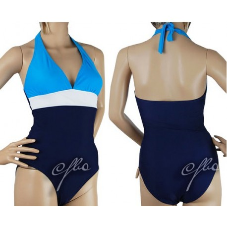 Kostium kąpielowy granatowo-biało-niebieski