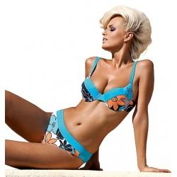 Strój kąpielowy dwuczęściowy bikini na fiszbinach L-3122 v.53 DALIA, niebieski z kwiatowym wzorem