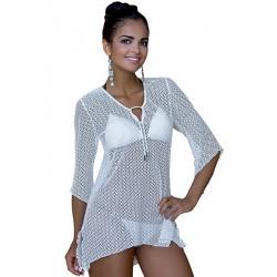 Tunika plażowa z siateczki - Tunika-1, kolor biały