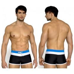 Kąpielówki męskie - Bokserki 716 v.2, czarny z niebieskim