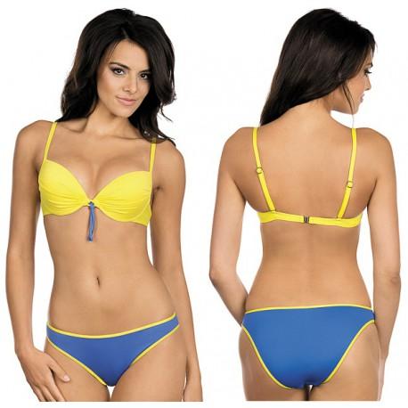 Strój kąpielowy dwuczęściowy bikini push-up L-5412 v.2 LENA, żółty z granatem