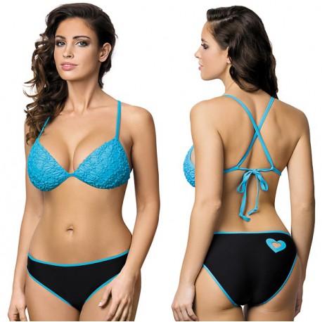 Strój kąpielowy dwuczęściowy bikini push-up L-1168 v.2 KELLY, czarny z niebieskim