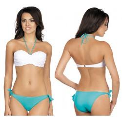 Strój kąpielowy dwuczęściowy bikini push-up L-3181 v.2 LILIANA, biały z zielonym