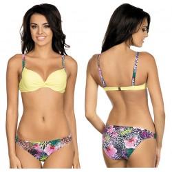 Strój kąpielowy dwuczęściowy bikini push-up L-3206 v.1 FRANCES, żółty z wzorem