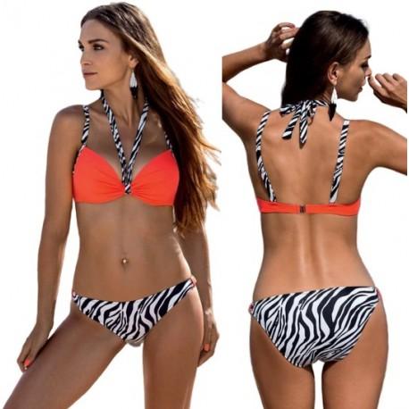 Strój kąpielowy dwuczęściowy bikini push-up L-5386 v.1 DARLA, koral neon (fluo) z wzorem