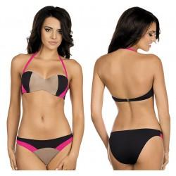 Strój kąpielowy dwuczęściowy bikini push-up L-3174 v.1 MARTYNA, złoty beż z różem