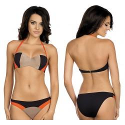 Strój kąpielowy dwuczęściowy bikini push-up L-3174 v.2 MARTYNA, złoty beż z pomarańczem