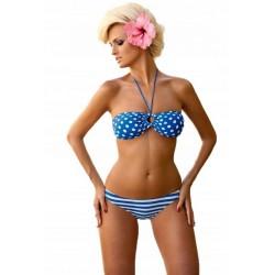 Strój kąpielowy dwuczęściowy bikini z miękkimi miseczkami L-6151 v.3 ANNA, niebieski z białym
