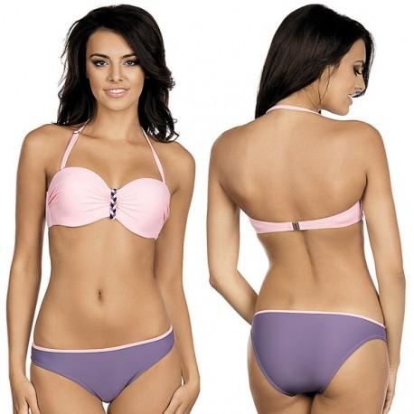 Strój kąpielowy dwuczęściowy bikini push-up L-3210 v.1 ALMA, róż z fioletem