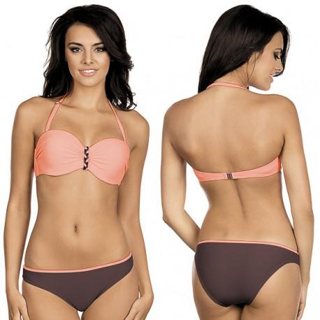 Strój kąpielowy dwuczęściowy bikini push-up L-3210 v.2 ALMA, brzoskwiniowy z brązem