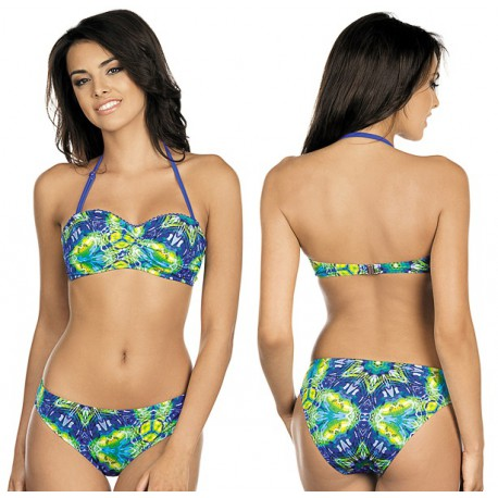 Strój kąpielowy bikini push-up L-3184 v.1 CECYLIA, granatowy z zielonym