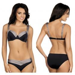 Strój kąpielowy dwuczęściowy bikini push-up L-5396 v.1 GRACE, czarny z beżem