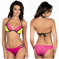 Strój kąpielowy bikini push-up L-1004/6 v.1, róż z żółtym