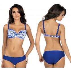 Strój kąpielowy dwuczęściowy bikini ze sztywną miską L-2000/6 v.2, szafirowy z białym