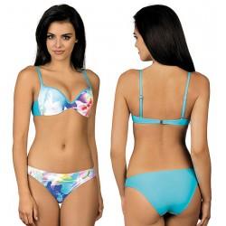 Strój kąpielowy dwuczęściowy bikini push-up L-2013/6 v.1, niebieski z wzorem