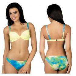 Strój kąpielowy dwuczęściowy bikini ze sztywną miską L-2026/6 v.1, żółty z niebieskim