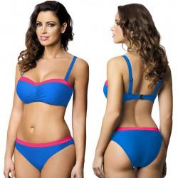 Strój kąpielowy dwuczęściowy bikini ze sztywną miską L-2073/6 V.1, niebieski z różem (neon)
