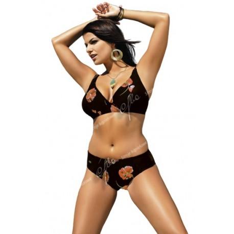 Strój kąpielowy dwuczęściowy bikini z miękką miską na fiszbinach V-115, brąz w pomarańczowe kwiaty