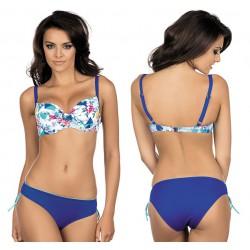 Strój kąpielowy dwuczęściowy bikini ze sztywną miską L-2031/6 v.1, niebieski z wzorem