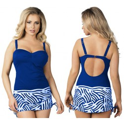 Strój kąpielowy jednoczęściowy sukienka L-4037/6 v.2, niebieski z białym