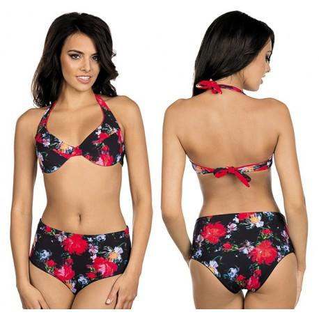 Strój kąpielowy dwuczęściowy bikini z miękką miską na fiszbinie L-5390 v.1T ROSA, kwiatowy wzór
